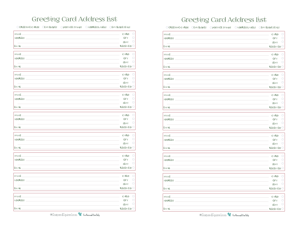 Day  Greeting Card Address List  Planners