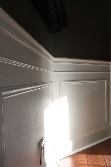 picture frame moulding below chair rail high chairs canada reviews molding how great would this look under the in dining room i love white contrasting with darker color on top too