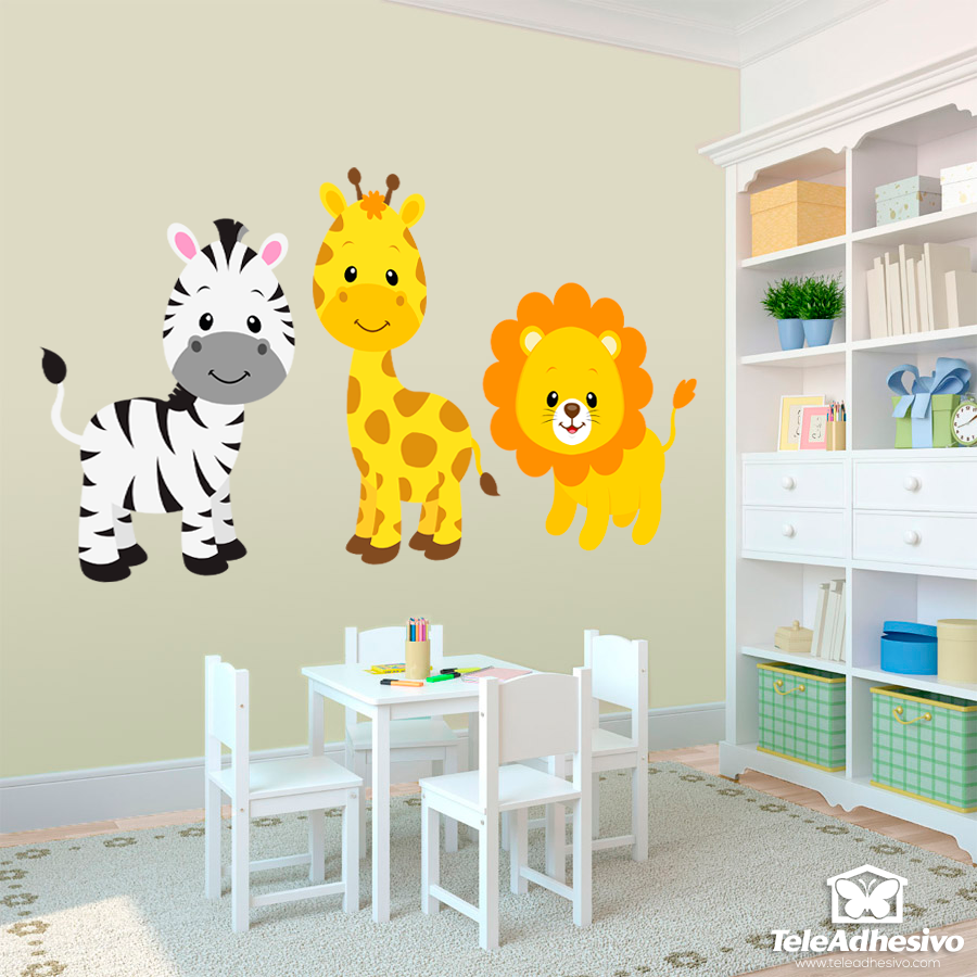Stickers for Kids Safari zebra, giraffe and lion | WALL STICKERS ...