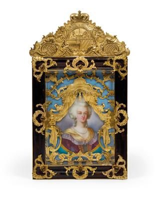 A porcelain picture with a portrait of Marie-Antoinette in richly gilded frame,