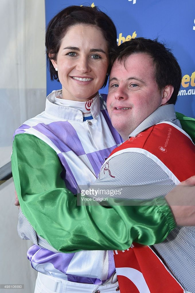 Melbourne Cup winning jockey <a gi-track='captionPersonalityLinkClicked' href=/galleries/search?phrase=Michelle+Payne&family=editorial&specificpeople=2296250 ng-click='$event.stopPropagation()'>Michelle Payne</a> poses with brother and strapper Stephen Payne after signing autographs and posing with fans during Melbourne Racing at Ballarat racing Club on November 21, 2015 in Ballarat, Australia.
