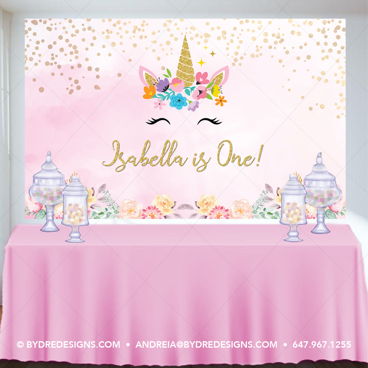 AOSTO 7x5ft Unicorn Backdrop for Baby Shower or Birthday Table Decoration Pink Unicorn Background Vinyl Material W-3391