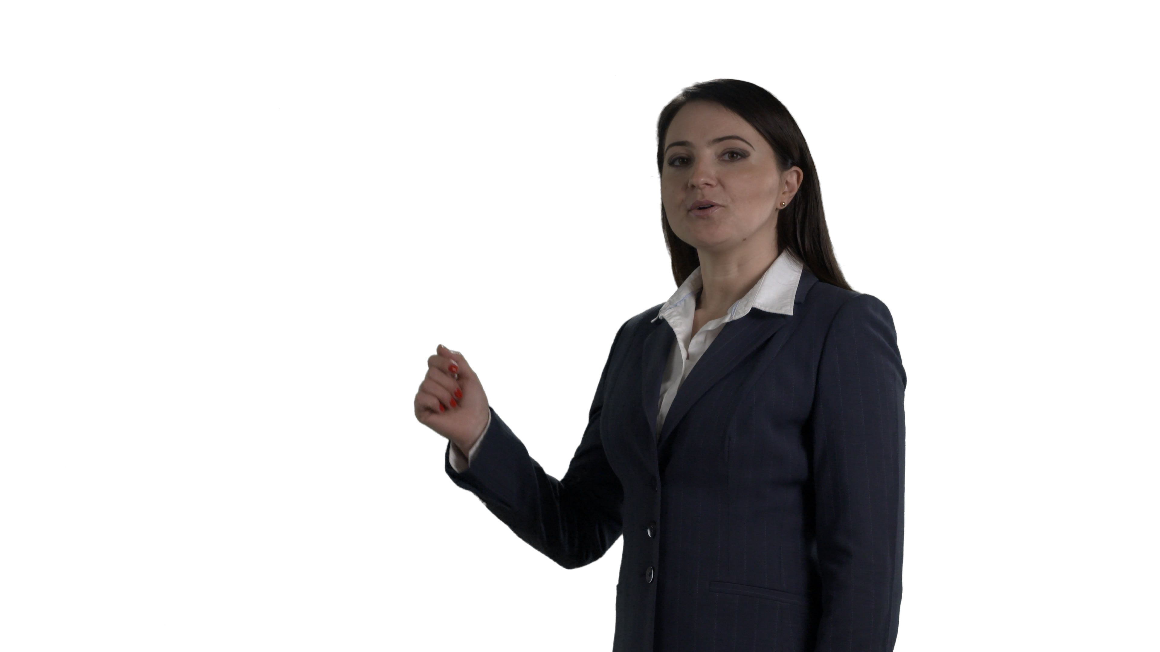 Business Woman During Presentation On White Background Alpha Channel Stock Footage Presentation White Business Woman Business Women Women White Background