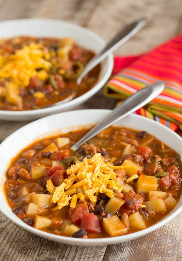 This Slow Cooker Chorizo Potato And Two Bean Chili Isy But Fits The Bill When You Want To Warm Up On A Cold Night Or Craving That Fire Alarm Chili