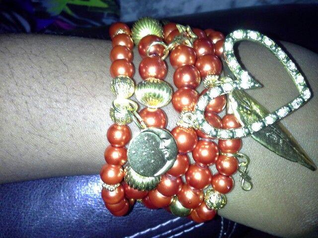 Orange bracelet set with charms Handmade by letitia