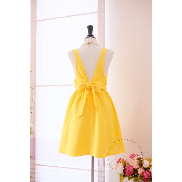 Backless yellow dress polyvore clothing
