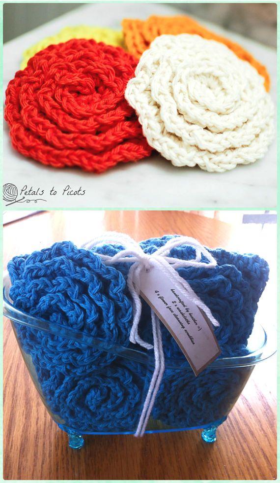 Crochet Flower Face Cleansing Pads Scrubbies Free Pattern - Crochet ...