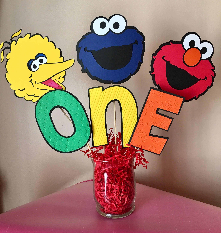Sesame Street Decorations Birthday Table Centerpiece Elmo Cookie