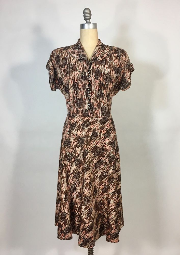 226e2c6f680 Vintage 1950 s AUTUMNAL earth tones print dress w semi-circle skirt    rhinestone  Unknown  ShirtDress  Everyday