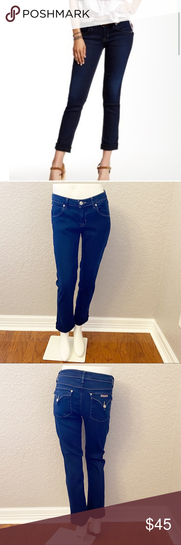 """Hudson Jeans Bacara Crop Straight Cuffed- 29 EUC Hudson Jeans Bacara Crop Straight Cuffed mid-rise jeans in a dark wash.   ▪️Size: 29 ▪️Waist: 16"""" across ▪️Rise: 8.5"""" ▪️Inseam: 26"""" ▪️Material: 52% Tencel, 25% Cotton, 21% Polyamide, 2% Elastan   Offers welcome!  *All measurements are taken flat lay and are approximations.  0374-4 Hudson Jeans Jeans Ankle & Cropped"""