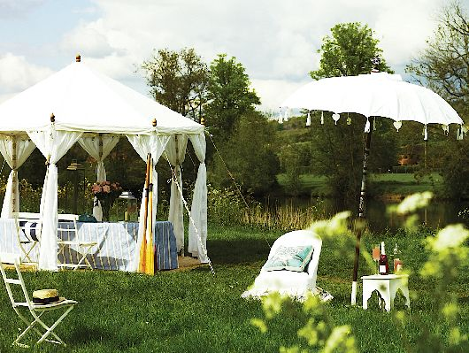 Move your table out on to the lawn and use a dining tent parasol and & Outdoor dining ideas | Outdoor dining Lawn and Garden parasols