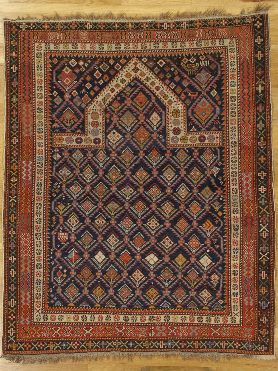 Navy Ground Shirvan Prayer Rug From Eastern Caucasus West Coast Of The Caspian Sea Age Circa 1880 Size 4 6 X3 9 137x114 C In 2020 Rugs Rugs On Carpet Persian Rug