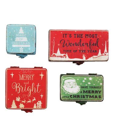 Another great find on #zulily! Metal Christmas Storage Box - Set of