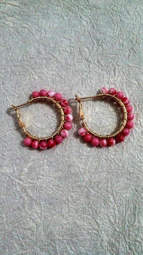 Arracadas chapa de oro con piedras rosas