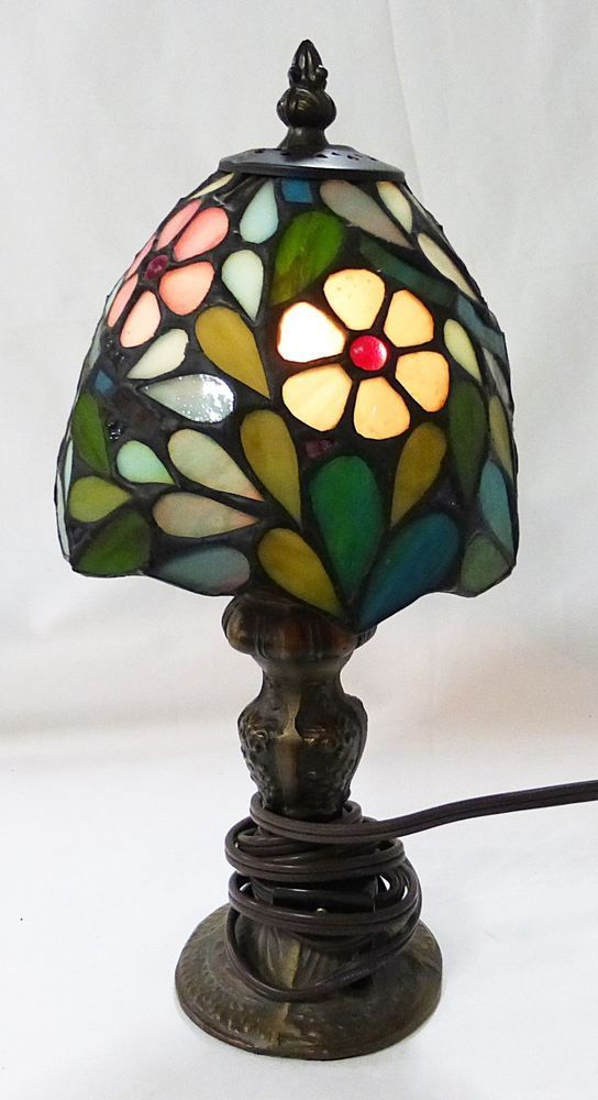 Tiffany style stained glass table lamp leaded victorian metal base tiffany style stained glass table lamp leaded victorian metal base floral mozeypictures Gallery