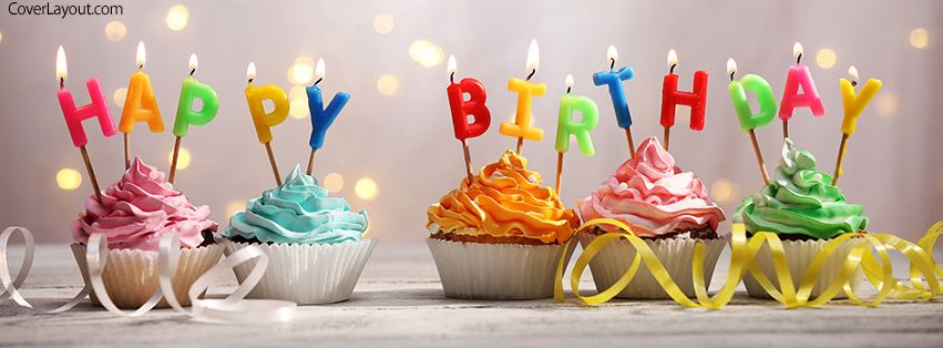 Happy Birthday Cupcakes Candles Facebook Cover Coverlayout