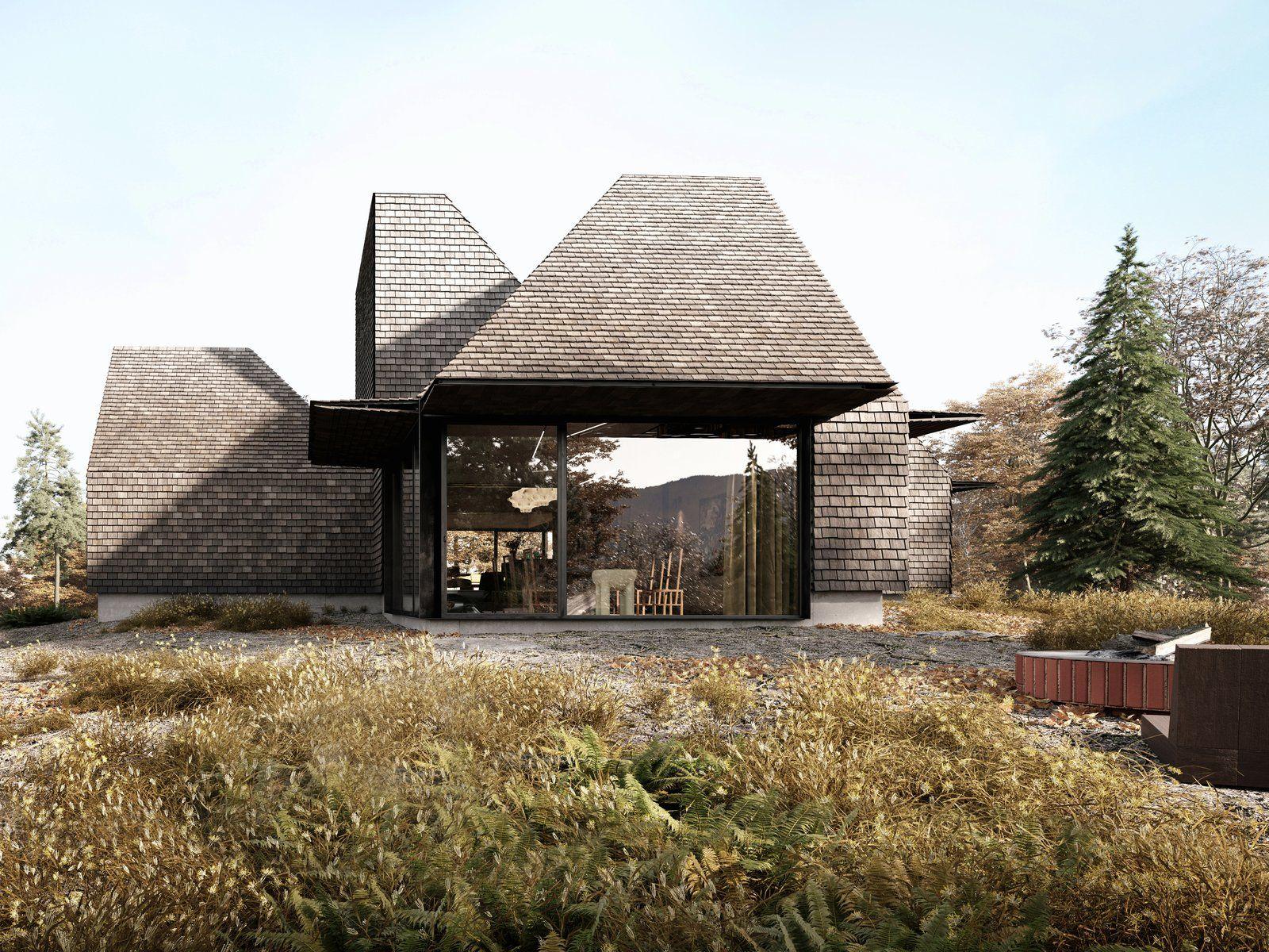 five modular cabins form a sculptural catskill abode modern home rh pinterest com