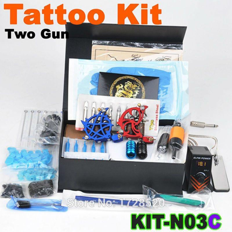 Complete tattoo kit beginner 2x tattoo machine guns power