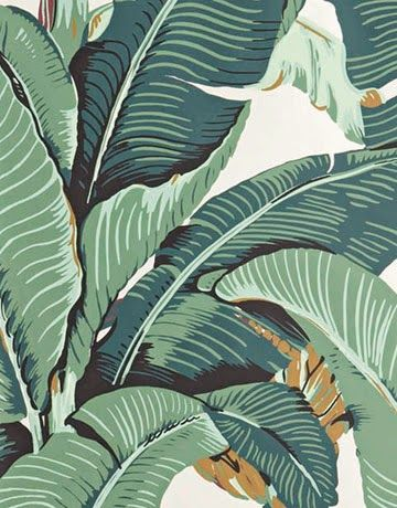 "Mirabellicious ♥: The Leafy Quarters. The Original 'Martinique' Wallpaper a.k.a. Martinique ""A"" BH90210, originally designed for the Beverly Hills Hotel Fountain Coffee Room in 1942."