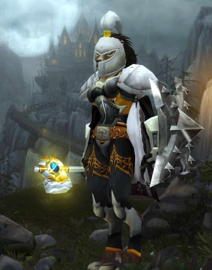 White and gold plate with gray xmog. Placeholder weap as I don\'t ...
