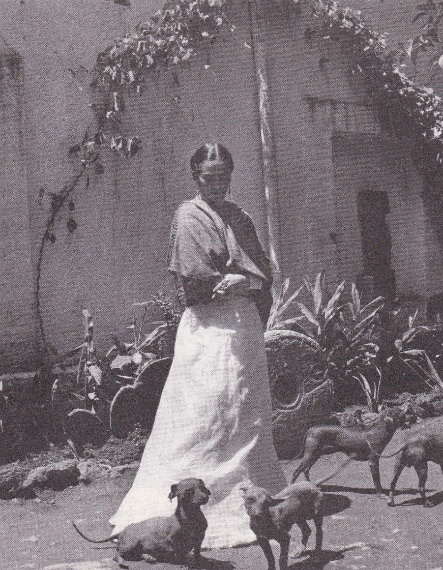 Gisèle Freund, Frida nel giardino di Casa Azul, Coyoacán, 1951