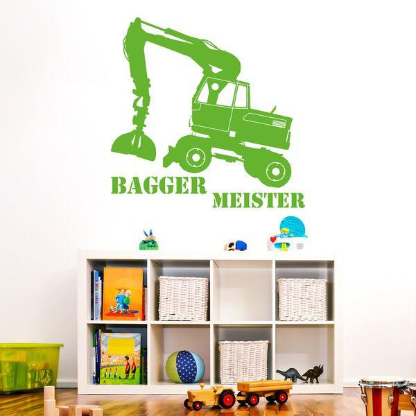 Great Eule Pinki Wandtattoo Set mit Namen Wandtattoo Bagger Meister Kinderzimmer