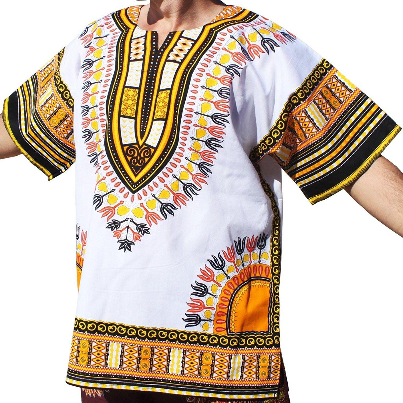 e999005289e RaanPahMuang Brand Unisex Bright White Cotton Africa Dashiki Shirt ...