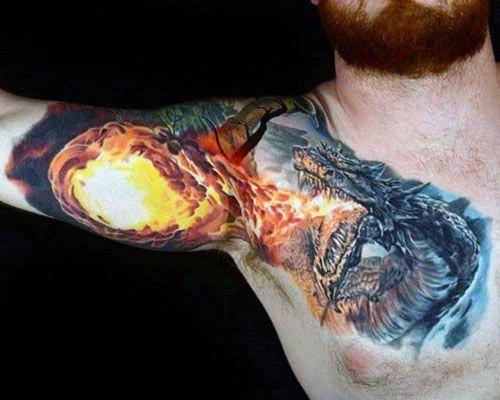 Photo of Breathing Fire Dragon Tattoo Design auf Brust, Schulter, Bizeps – Best Dragon Tatt …