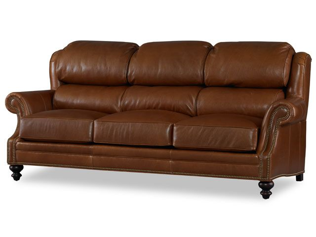 Leather Couch With Plush Seating
