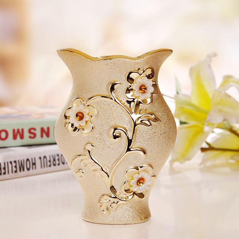 ラグジュアリーモーデン金メッキセラミック花瓶ホームデコレーションクリエイティブデザイン磁器装飾花瓶結婚祝い