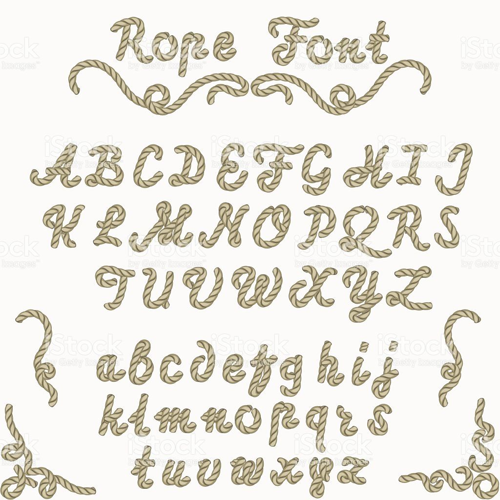 Rope font, nautical hand written Letters, sea style rope