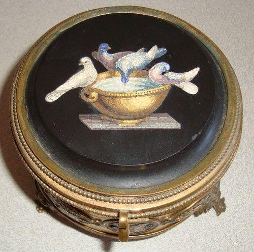 "Antique 19th Century Italian Grand Tour Micro Mosaic Gilt Enamel Brass 4"" Jewelry Box | eBay"