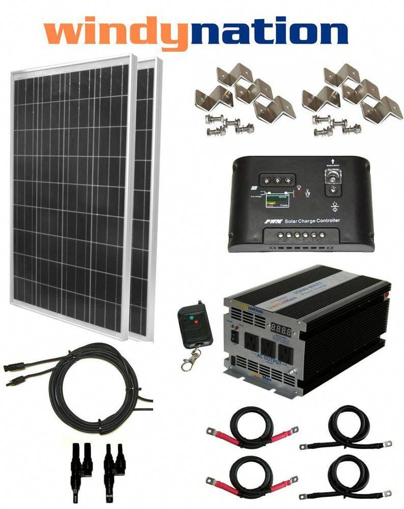 Details About Complete Kit 200 W Watt 200w Solar Panel 1500w Inverter 12v Rv Boat Off Grid Solar Power Kits Solar Panel Kits Solar Panel System