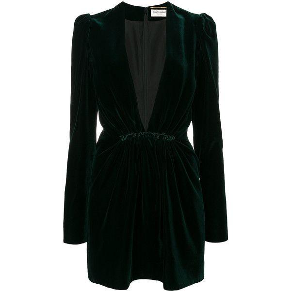 d849c8360be7 Saint Laurent velvet plunge dress ($1,990) ❤ liked on Polyvore featuring  dresses, green, deep v neck dress, long-sleeve mini dresses, long sleeve  short ...