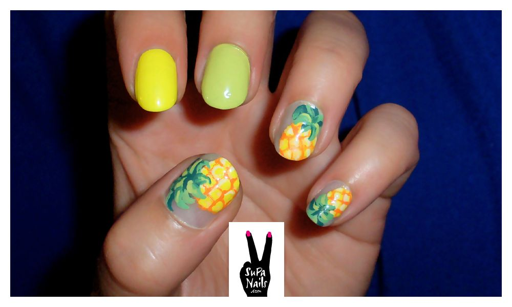 I love pineapples, nail polish, & nail art - I say we've got a winner!  supanails:    Pineapple Mambo