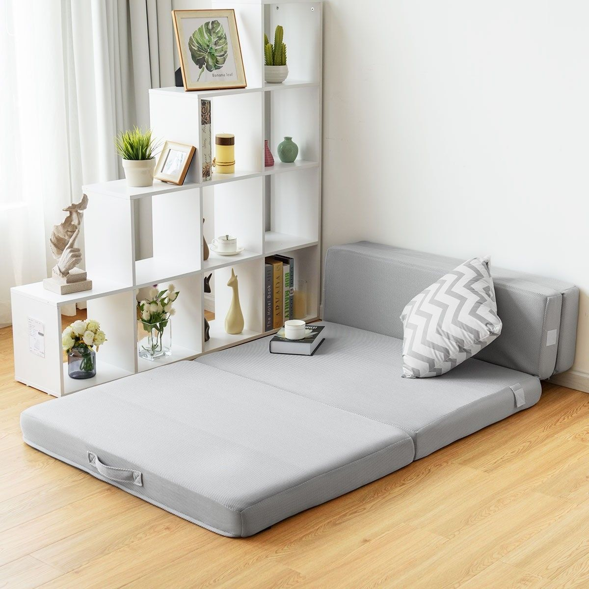 4 Folding Sofa Bed Foam Mattress With Handles Mattress Sofa Sofa Bed For Small Spaces Folding Sofa Bed