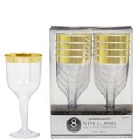 Add A Touch Of Gold To Elegant Place Settings With Clear Trimmed Premium Plastic Wine Gles These Have Trim Around
