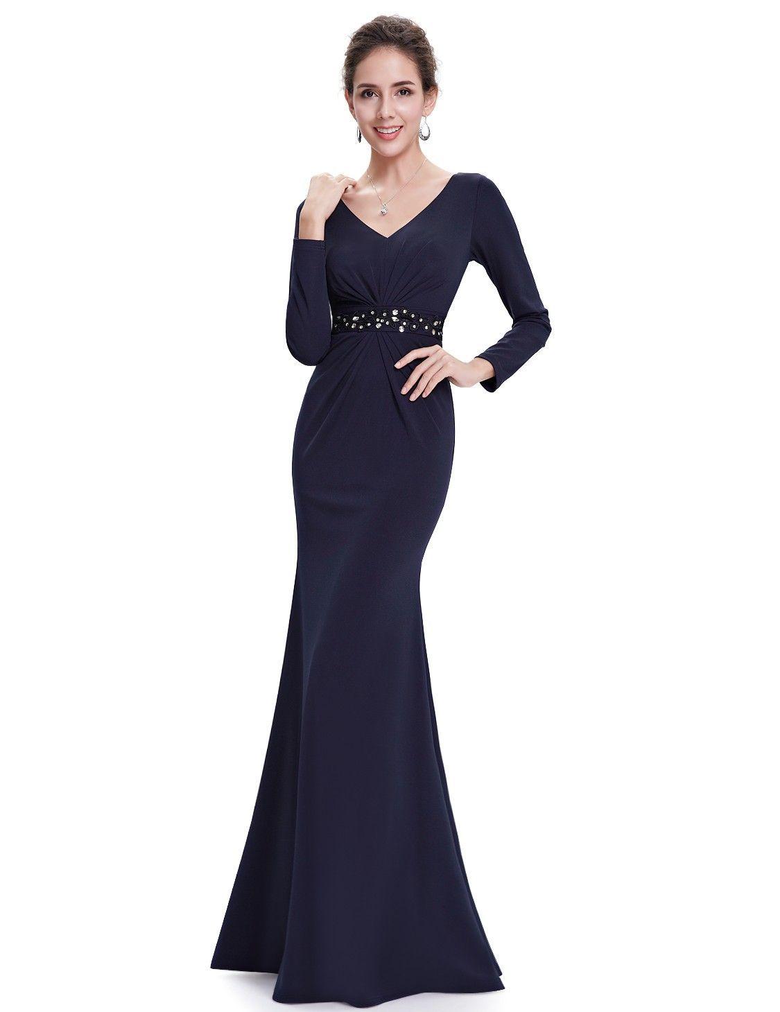 ff6624918c0e Abendkleider 2019 Abendmode Schlichtes Langarm Abendkleid mit V Dekollete