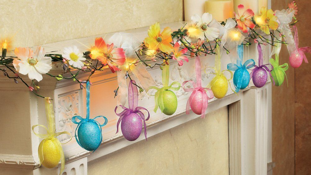 glittered easter egg lighted garland