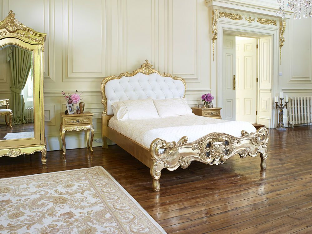 in Home  Furniture   DIY  Furniture  Beds   Mattresses. Chateau Royale  king size gold leaf French   Italian Rococo Louis