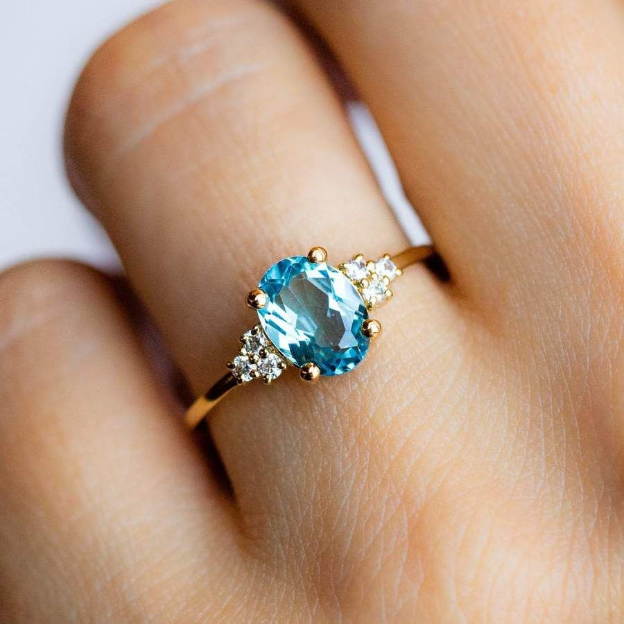 Gemstone Ring Blue Topaz Solitaire Ring Gift for Her Handmade Gold Ring 14K Solid Gold Ring Round Blue Topaz Ring Minimalist Ring