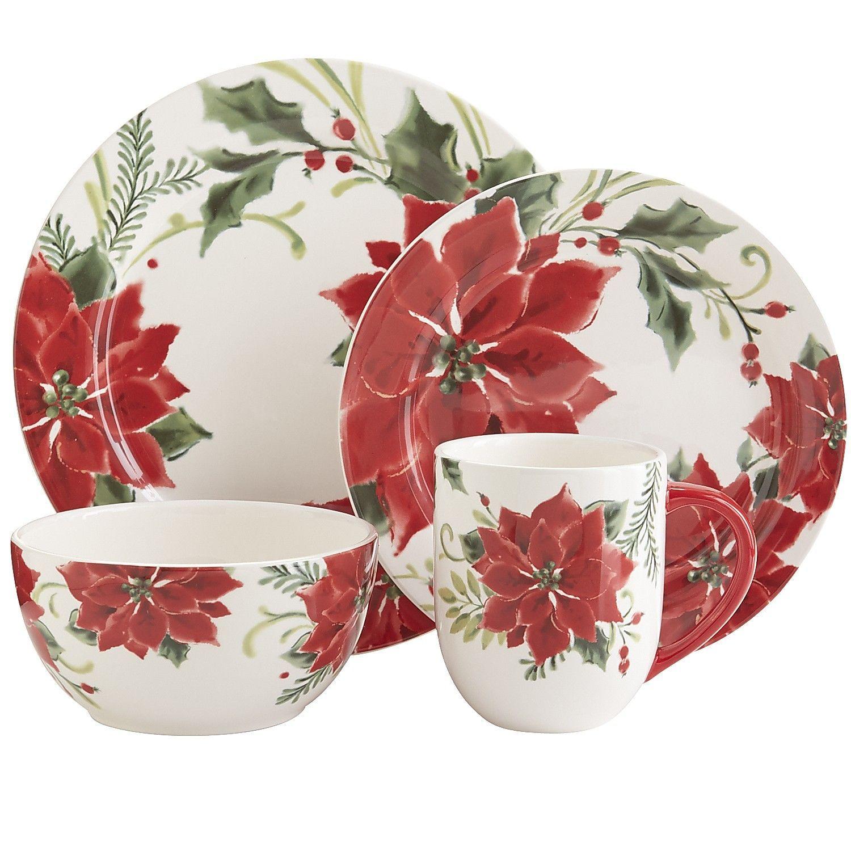 Classic Poinsettia Dinnerware Christmas Dinnerware Christmas Dinnerware Sets Christmas Tableware