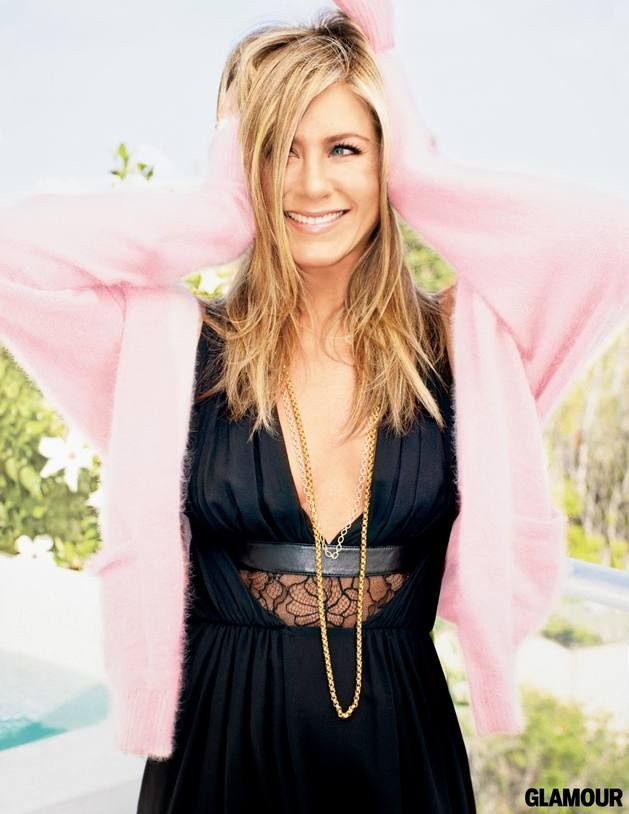 Glamour Magazine September 2013 Cover Girl: Jennifer Aniston  #Black #Dress #LightPink #Cardigan #Jennifer #Aniston #Outfit