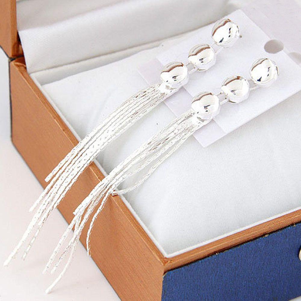 1 paar Goud Zilver Kleur Lange Earring Vrouwen Meisjes Kwastje Hanger Oor Stud Dangle Elegante Oorbellen Sieraden Wholesale