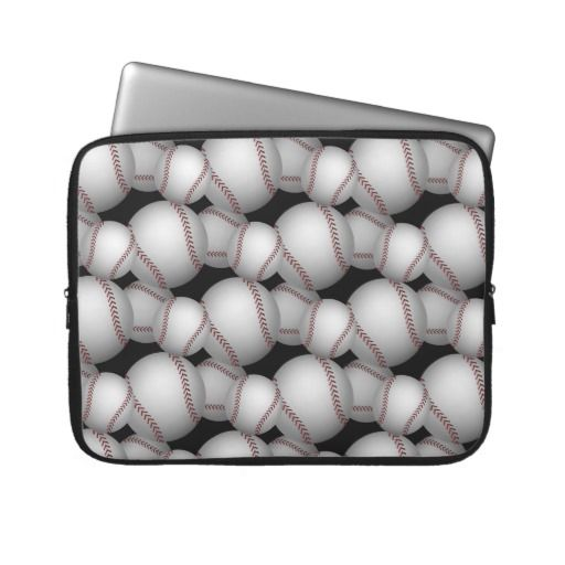 Baseballs Pattern Laptop Computer Sleeve ~   A pattern of illustrated baseballs is the subject of this fun sports themed design.