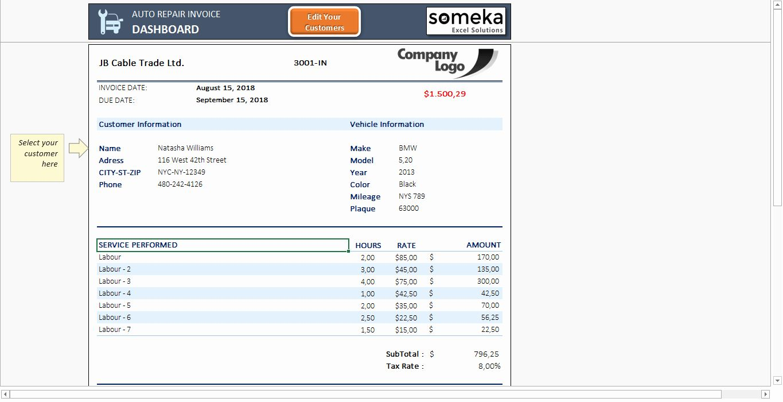 Free Auto Repair Invoice Template New Auto Repair Invoice Template Free Auto Receipt Excel Invoice Template Business Template Professional Templates