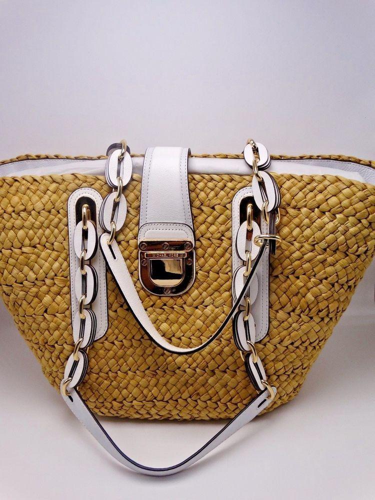 4c5b13a02093fc Michael Kors Large Santorini Basket Natural, White Straw Tote Hand Bag  NWT$298 #MichaelKors #TotesShoppers