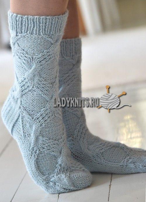 вязаные спицами женские носки с косами вязание носки гольфы