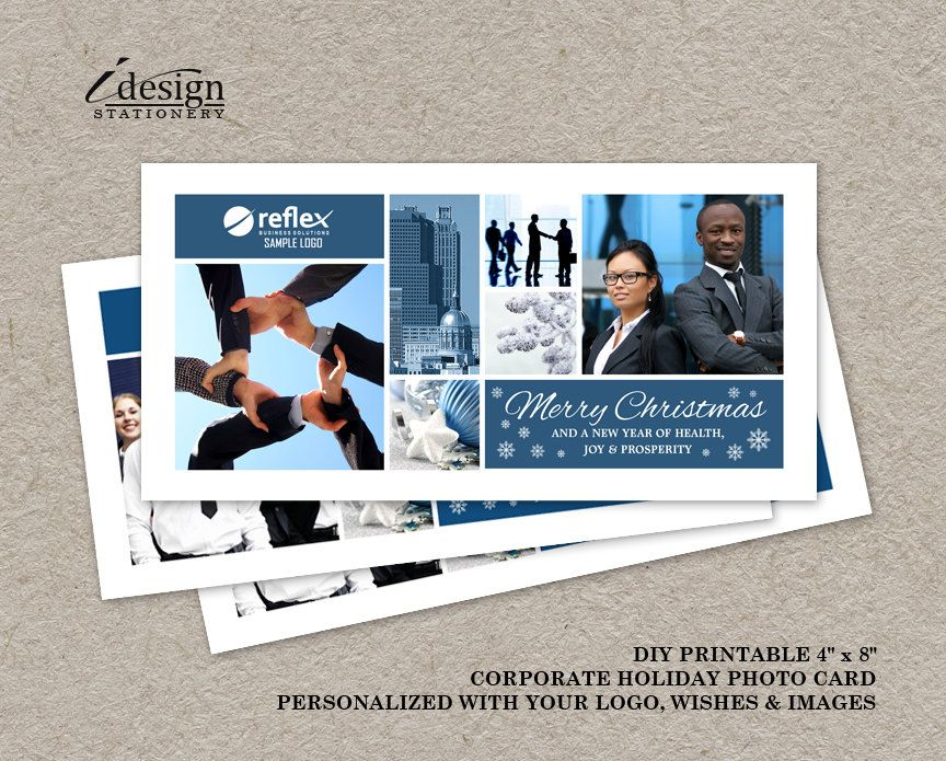 Corporate Christmas Photo Cards With Logo | Printable Business ...