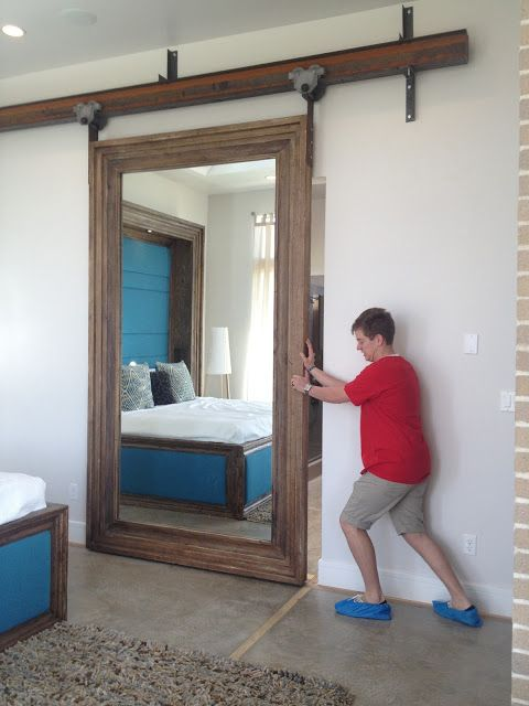 Mirrored barn door for our master closet dream house for Bedroom closet barn doors